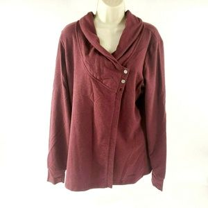 Danskin Crossfront Wrap Button Up Assassin Sweater